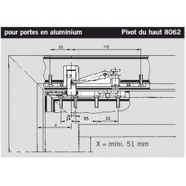 Pivot du haut réglable Dorma 8062 (partie sup)